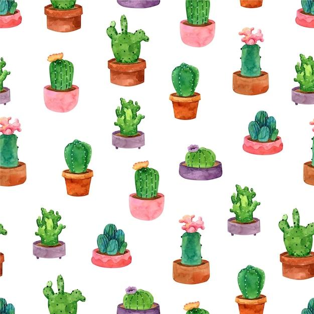 Kaktusmusteraquarellentwurf Kostenlosen Vektoren