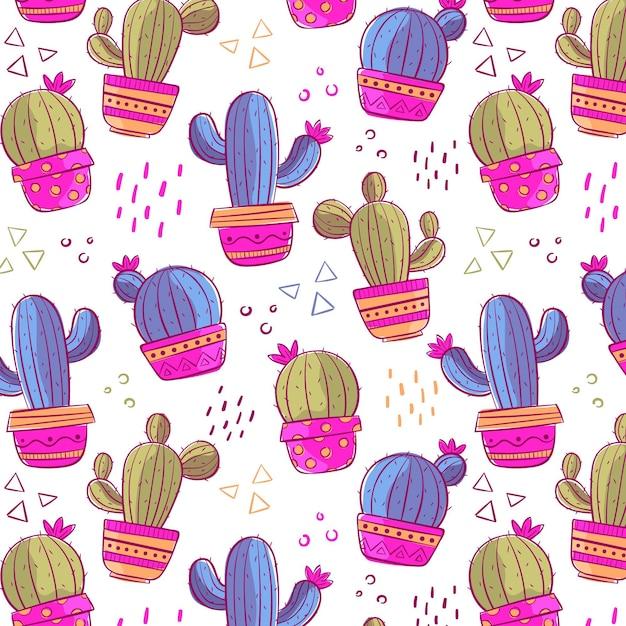 Kaktusmusterpaket Kostenlosen Vektoren