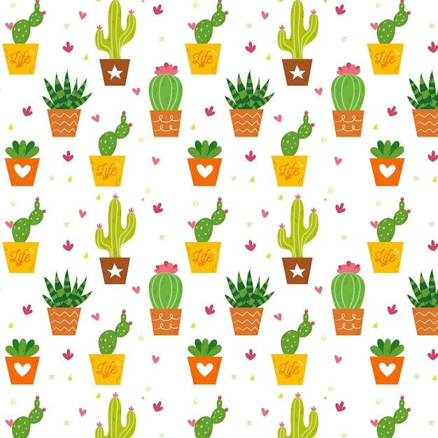 Kaktusmustersammlung Kostenlosen Vektoren