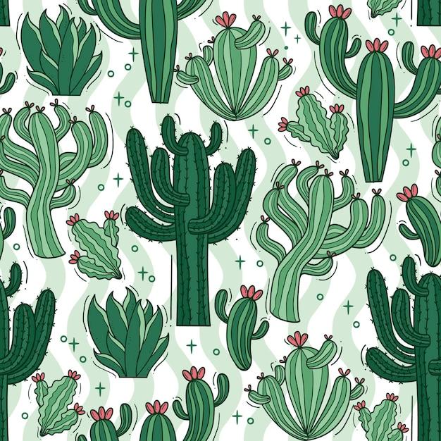 Kaktusmustersatz Kostenlosen Vektoren