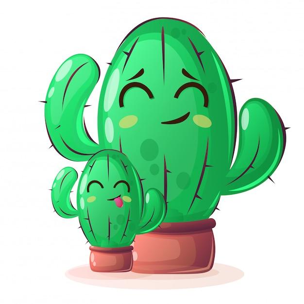 Kaktuspflanzen im cartoon-stil Premium Vektoren