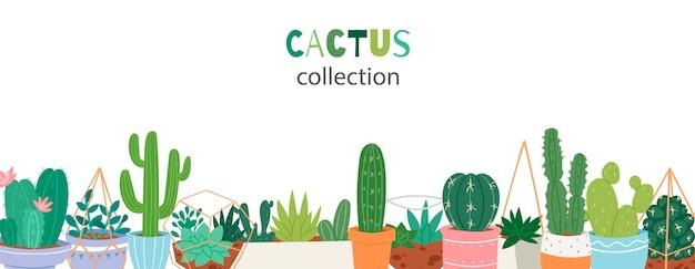 Kaktuspflanzen in den gartentonwaren mit grüner hand schriftlicher gussfahne Premium Vektoren