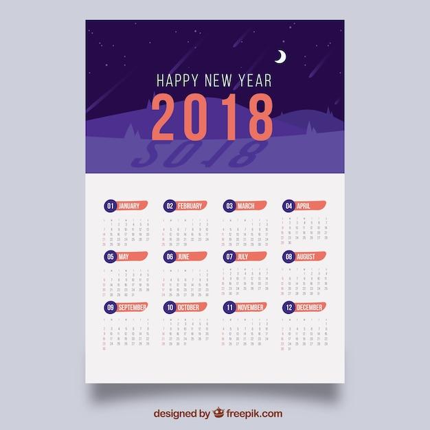 Kalender 2018 mit nachtlandschaft Kostenlosen Vektoren
