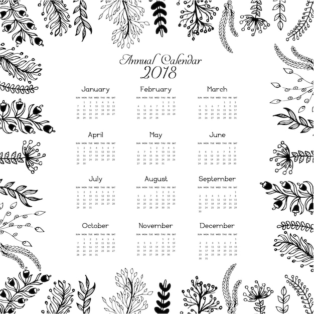 Kalender 2018 Verlasst Design Download Der Kostenlosen Vektor