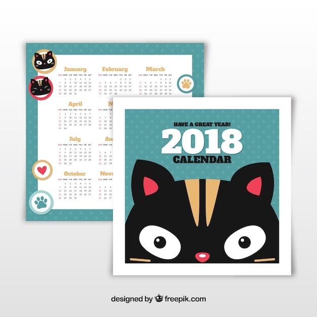 Kalender 2018 Kostenlosen Vektoren