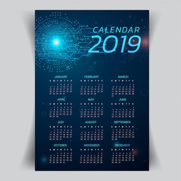 Kalender 2019 jahr mit abstraktem technologiehintergrund. Premium Vektoren