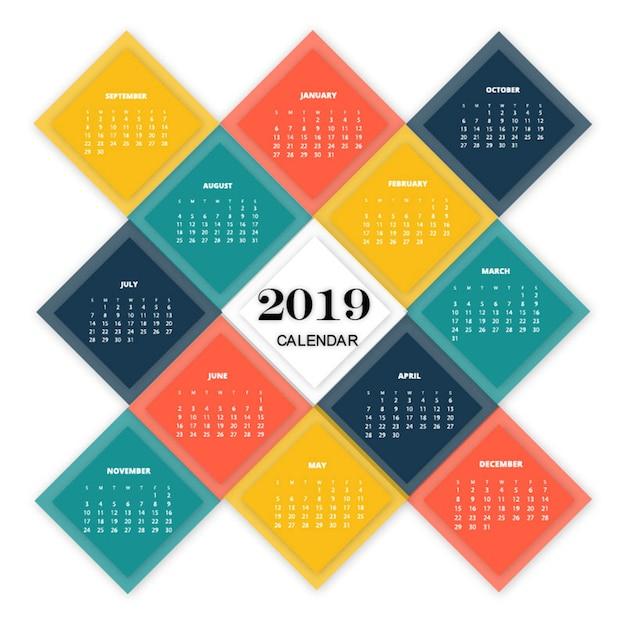 Kalender 2019 Premium Vektoren