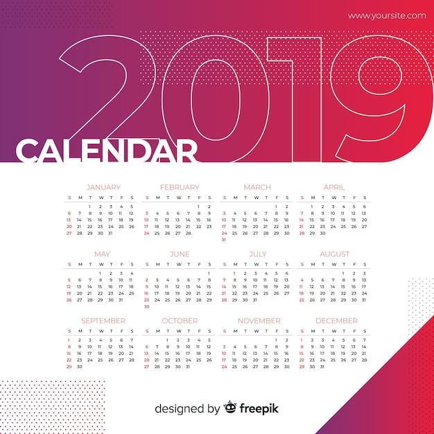 Kalender 2019 Kostenlosen Vektoren