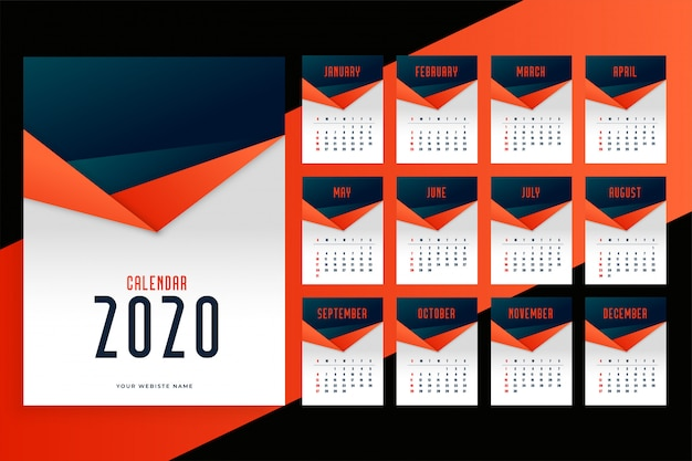 Kalender 2020 Kostenlosen Vektoren