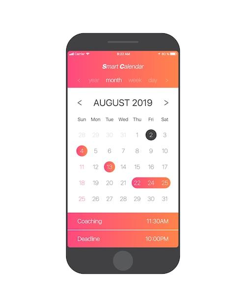 Kalender app ui konzept august 2019 seite vektor vorlage Premium Vektoren