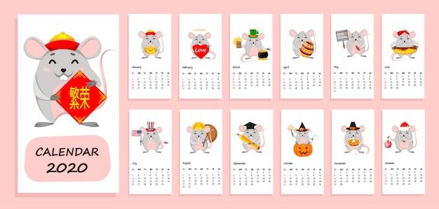 Kalender des jahres 2020 mit lustigen ratten Premium Vektoren