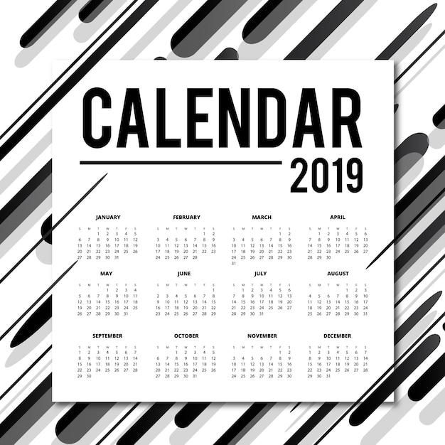 Kalender-design des vektor-2019 Kostenlosen Vektoren