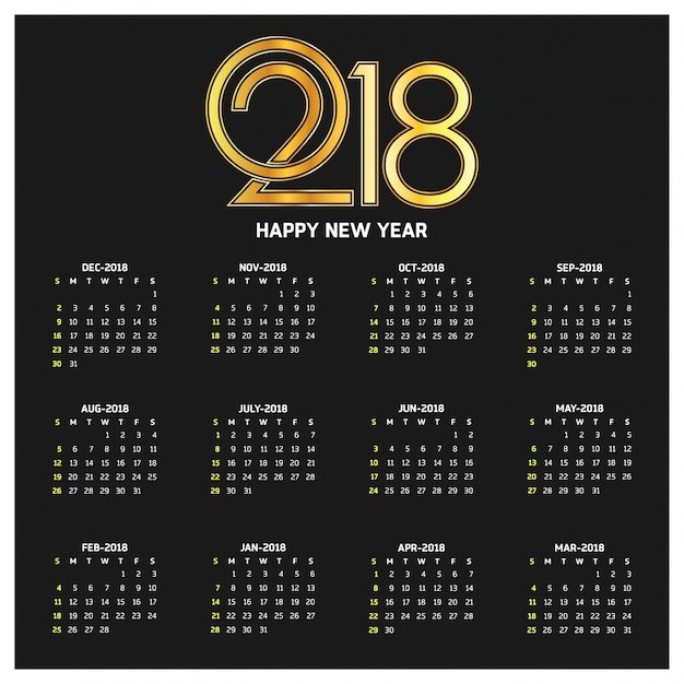 Kalender für 2018 Kostenlosen Vektoren