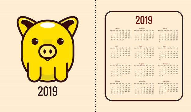 Kalender für das jahr 2019 mit dem symbol des jahres Premium Vektoren