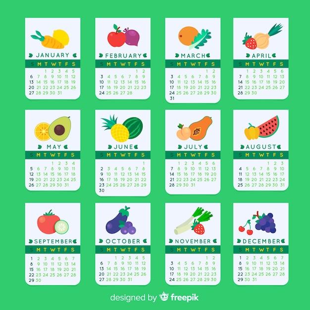 Kalender mit gemüse und früchten der saison Kostenlosen Vektoren