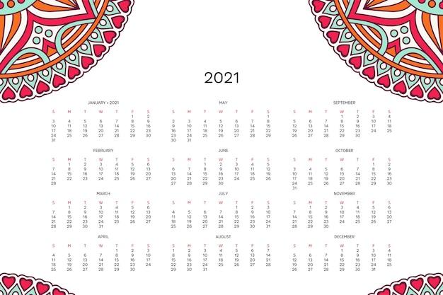 Kalender mit mandalas. Kostenlosen Vektoren