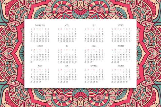 Kalender mit mandalasverzierung Kostenlosen Vektoren