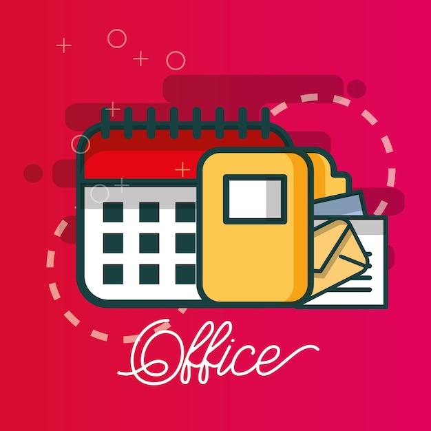 Kalender ordner datei e-mail-dokument büro Premium Vektoren