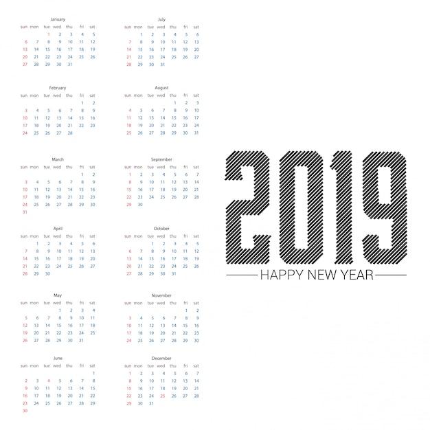 Kalenderdesign 2019 mit hellem hintergrundvektor Kostenlosen Vektoren
