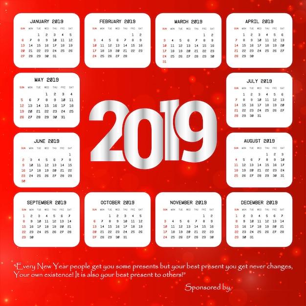 Kalenderdesign 2019 mit rotem hintergrundvektor Kostenlosen Vektoren