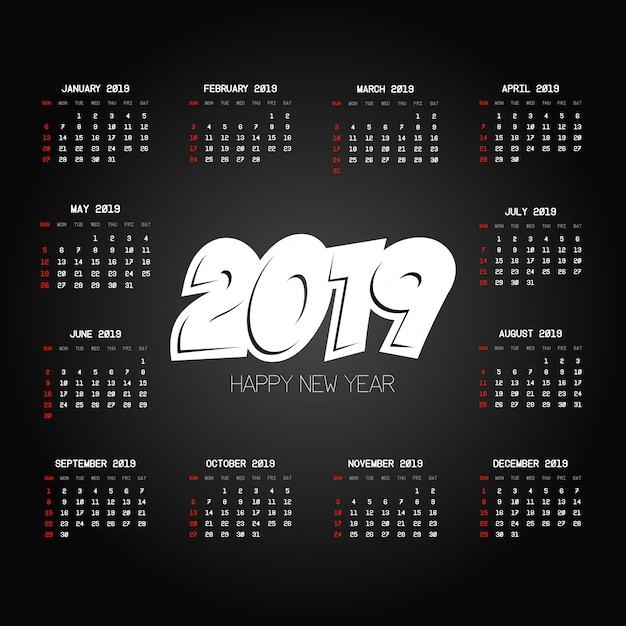 Kalenderdesign 2019 mit schwarzem hintergrundvektor Kostenlosen Vektoren
