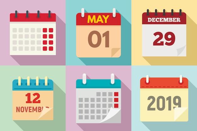 Kalendersatz, flache Premium Vektoren