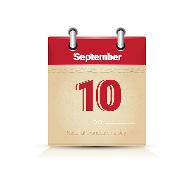 Kalenderseite glücklicher großelterntag september-feiertag Premium Vektoren