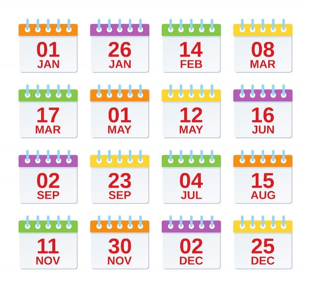 Kalendersymbol mit datumsangaben. . satz jährliche termine, jährliche ereignisschablone in der ebene. kalenderorganisatorsymbole lokalisiert. farbe abbildung. computergrafik. Premium Vektoren