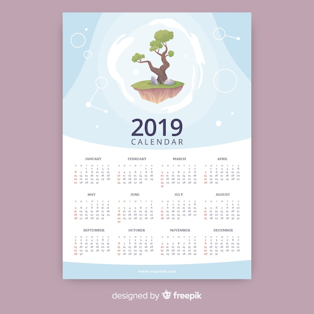 Kalendervorlage 2019 Kostenlosen Vektoren