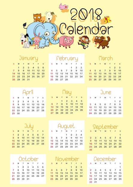 Kalendervorlage für 2018 mit niedlichen tieren Premium Vektoren