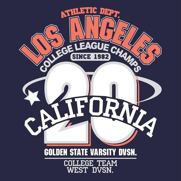 Kalifornien-sportabnutzungstypographieentwurf Premium Vektoren