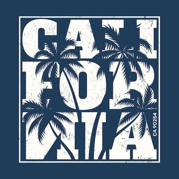 Kalifornien-t-stück druck mit palmen Premium Vektoren