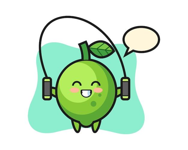 Kalk-charakter-karikatur mit springseil, niedlichem stil, aufkleber, logoelement Premium Vektoren