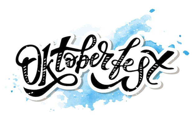 Kalligraphie-bürsten-text-feiertags-aufkleber oktoberfest-beschriftung Premium Vektoren