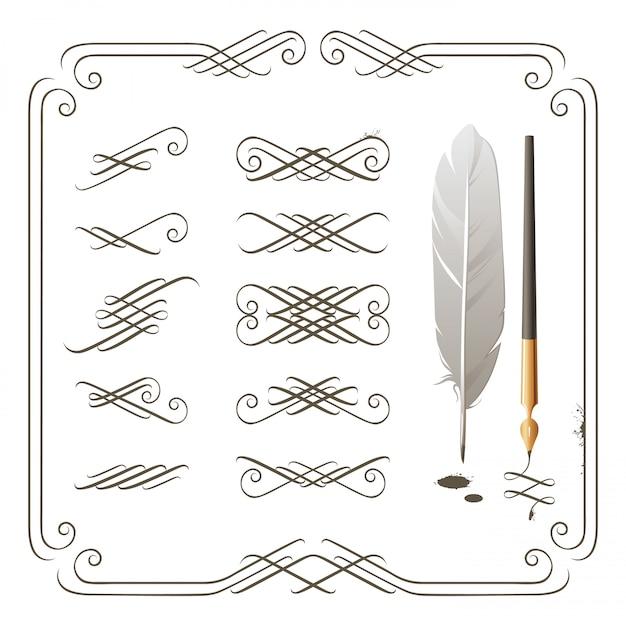 Kalligraphie-elemente Premium Vektoren