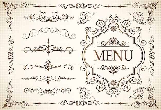 Kalligraphie wirbelt umher und verziert motive Premium Vektoren