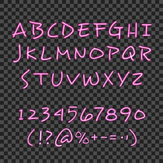 Kalligraphiebeschriftungsartplakat mit rosa neonhand gezeichneten alphabetziffern und -symbolen mit transparenter hintergrundvektorillustration Kostenlosen Vektoren