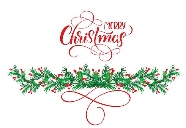 Kalligraphietext frohe weihnachten mit flourish und weihnachtsbaum Premium Vektoren