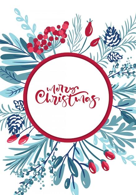 Kalligraphische beschriftung der frohen weihnachten handgeschriebener text. grußkarte Premium Vektoren