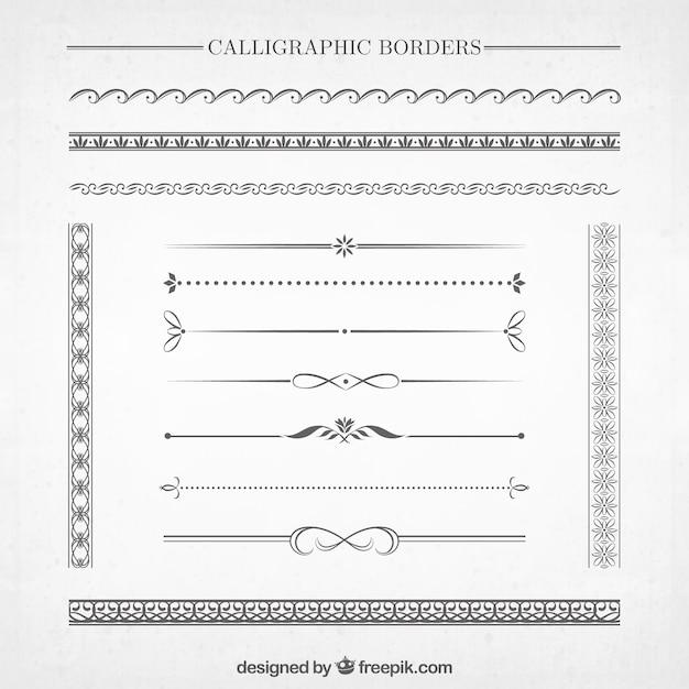 Kalligraphische borders-sammlung Kostenlosen Vektoren
