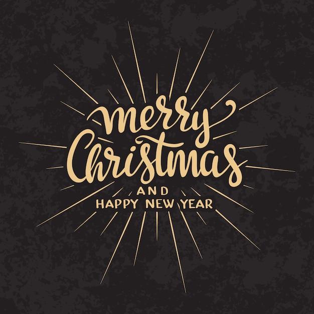 Kalligraphische briefgestaltung-kartenschablone der frohen weihnachten text. Kostenlosen Vektoren