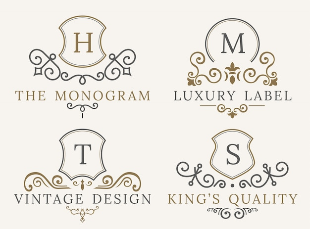 Kalligraphische luxus-logo-dekorelemente. Premium Vektoren