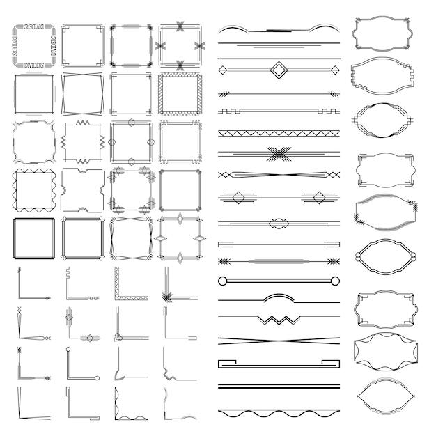 Kalligraphische teiler, rahmen in verschiedenen formen. Premium Vektoren