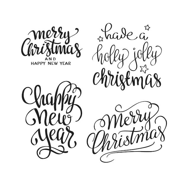 Kalligraphischer briefbeschriftungssatz der frohen weihnachten text. kreative typografie für urlaubsgrüße Kostenlosen Vektoren