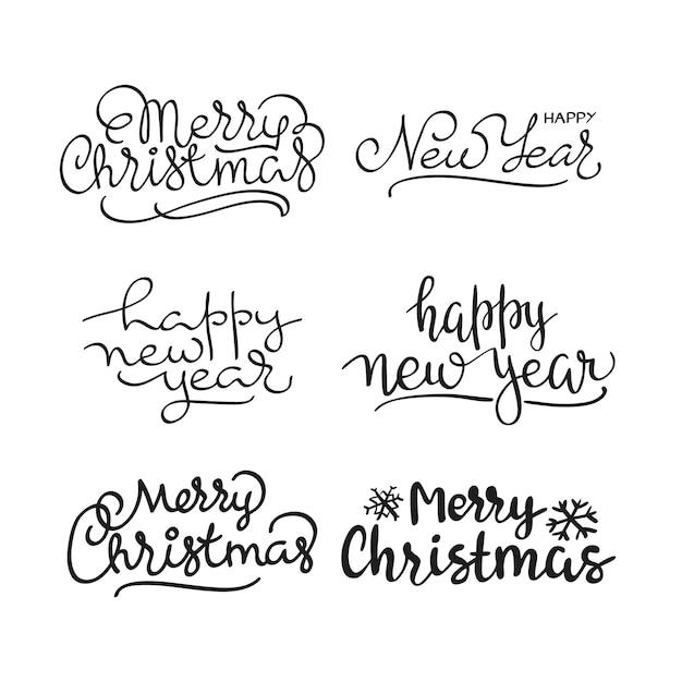 Kalligraphischer briefbeschriftungssatz der frohen weihnachten text Kostenlosen Vektoren
