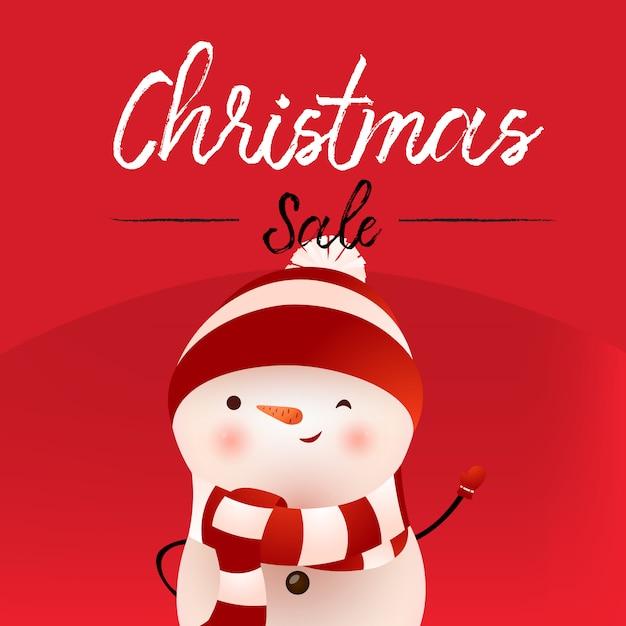 Kalligraphisches fahnendesign des weihnachtsverkaufs mit schneemann Kostenlosen Vektoren