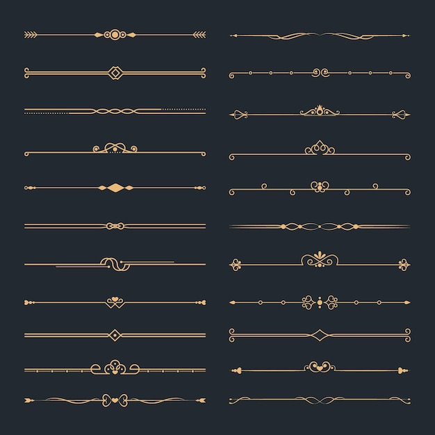 Kalligraphisches zierteiler-set Kostenlosen Vektoren