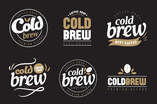 Kalt gebrühte kaffee-logos konzept Premium Vektoren