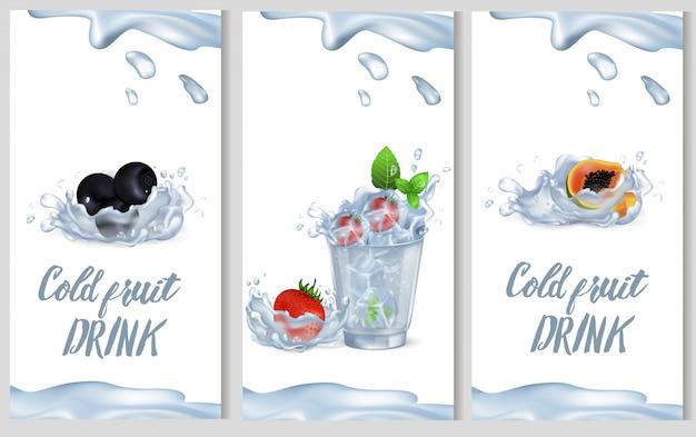 Kalte fruchtgetränkförderungsplakat-vektorillustration Premium Vektoren