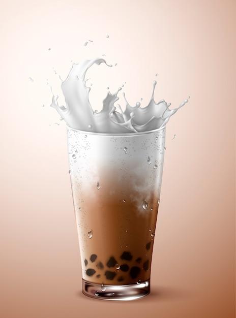 Kalter bubble tea mit milchspritzer in glasschale Premium Vektoren
